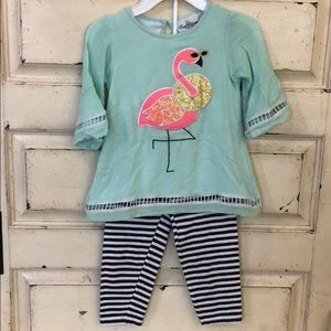 Rare editions two piece flamingo outfit